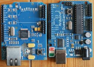 Arduino Duemilanove i moduł Ethernet